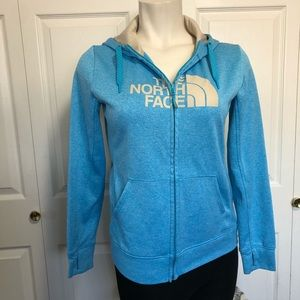 The north face full zip blue women's hoodie sz.L